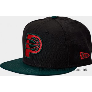 New Era Indiana Pacers NBA Team 9FIFTY Snapback Hat Black/Green/Red On Sale