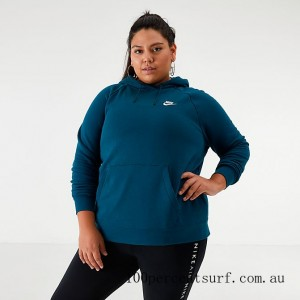 Black Friday 2021 Women's Nike Sportswear Essential Hoodie (Plus Size) Midnight Turquoise Clearance Sale