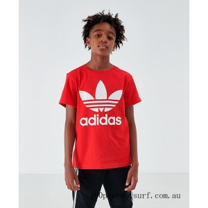 Black Friday 2021 Boys' adidas Trefoil T-Shirt Red/White Clearance Sale