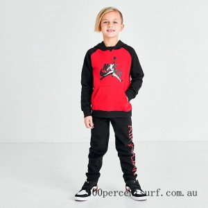 Black Friday 2021 Little Kids' Jordan Jumpman Classic Pullover Hoodie and Jogger Pants Set Black/Red Clearance Sale