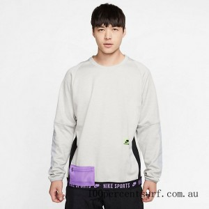 Men's Nike Therma Long-Sleeve Top Grey Heather/Light Smoke Grey/Bright Violet/Electric Green On Sale