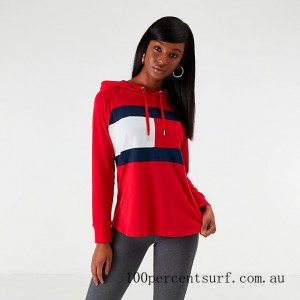 Women's Tommy Hilfiger Flag Hooded Long-Sleeve T-Shirt Red/Navy/White On Sale