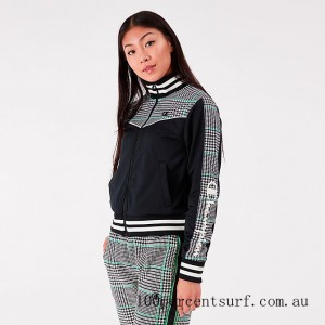 Women's Champion Life Houndstooth Tricot Track Jacket Green/Black/White On Sale