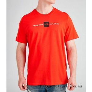 Men's The North Face Never Stop Exploring Box T-Shirt Red On Sale