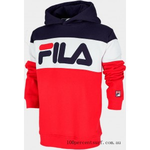 Black Friday 2021 Boys' Fila Colorblocked Hoodie Red/Navy/White Clearance Sale