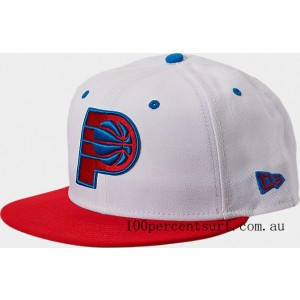 New Era Indiana Pacers NBA Split Color 9FIFTY Snapback Hat White/Red/Blue On Sale