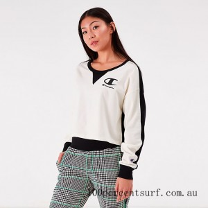 Women's Champion Life Long Sleeve Color Blocked Cropped Top Chalk White/Black On Sale