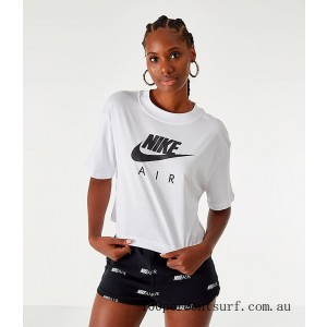 Black Friday 2021 Women's Nike Air Cropped T-Shirt White Clearance Sale