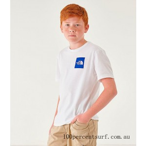 Boys' The North Face Outline Logo T-Shirt White/Royal On Sale