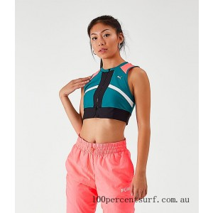 Women's Puma Chase Full-Zip Crop Top Green/Pink On Sale