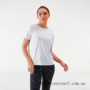 Black Friday 2021 Women's Nike Miler Short-Sleeve Running Top White/Reflective Silver Clearance Sale