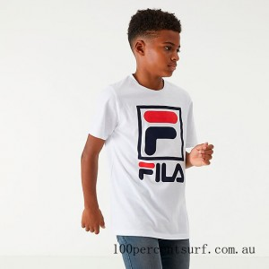 Boys' Fila Stacked Logo T-Shirt White/Peacoat/Chinese Red On Sale