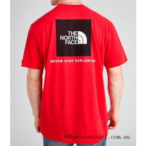 Men's The North Face Box T-Shirt Red/Black On Sale