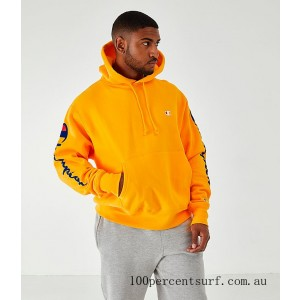 Men's Champion Arm Hit Hoodie Gold On Sale