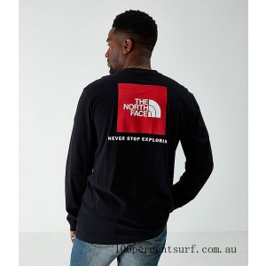 Men's The North Face Box Long-Sleeve T-Shirt Black On Sale