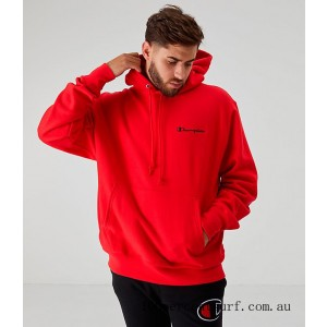 Men's Champion Reverse Weave Embroidered Logo Hoodie Red On Sale