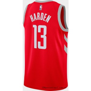 Men's Nike Houston Rockets NBA James Harden Icon Edition Connected Jersey University Red/Silver On Sale