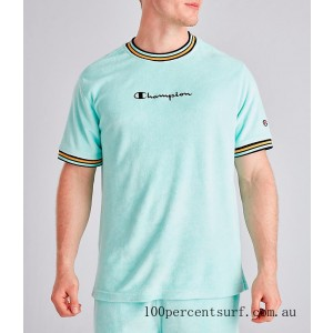 Black Friday 2021 Men's Champion Terry Script T-Shirt Waterfall Green Clearance Sale