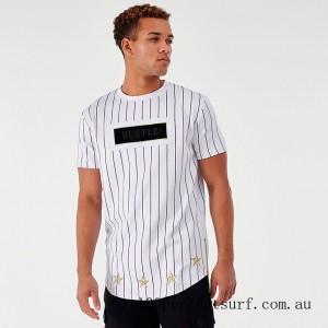 Black Friday 2021 Men's Supply & Demand Roll Pinstripe T-Shirt Optic White Clearance Sale