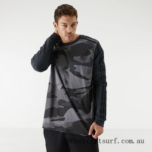 Black Friday 2021 Men's adidas Originals Camouflage Long-Sleeve T-Shirt Carbon Clearance Sale