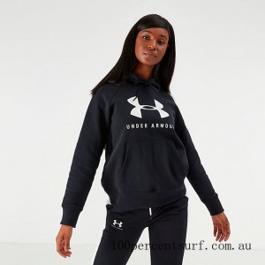 Black Friday 2021 Women's Under Armour Rival Fleece Sportstyle Graphic Hoodie Black Clearance Sale