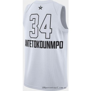 Black Friday 2021 Men's Air Jordan NBA Giannis Antetokounmpo All-Star Edition Connected Jersey White Clearance Sale