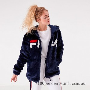 Black Friday 2021 Women's Fila Dolly Oversized Hoodie Navy/White/Red Clearance Sale