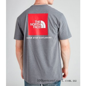 Men's The North Face Box T-Shirt Grey/Red On Sale