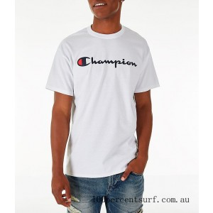 Black Friday 2021 Men's Champion Graphic Jersey T-Shirt White Clearance Sale