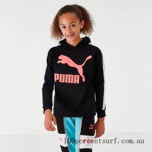 Girls' Puma Classic Archives Hoodie Black/Pink On Sale