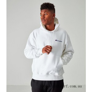 Men's Champion Reverse Weave Embroidered Logo Hoodie White On Sale
