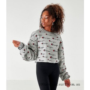 Women's Champion Reverse Weave Allover Print Cropped Crewneck Sweatshirt Grey/All Over Print On Sale