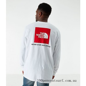 Men's The North Face Box Long-Sleeve T-Shirt White On Sale
