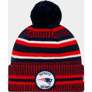 New Era New England Patriots NFL Home Striped Sideline Beanie Hat Team Colors On Sale