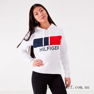 Women's Tommy Hilfiger Flag Hoodie White On Sale