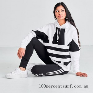 Black Friday 2021 Women's adidas Originals Cropped Large Logo Hoodie White/Black Clearance Sale
