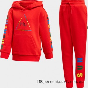 Toddler and Little Kids' adidas Originals x Pharrell Williams TBIITD Hoodie and Pants Set Red On Sale