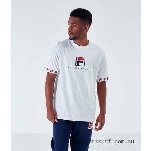 Black Friday 2021 Men's Fila Rosso T-Shirt White Clearance Sale