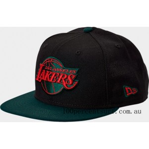 New Era Los Angeles Lakers NBA Team 9FIFTY Snapback Hat Black/Green/Red On Sale