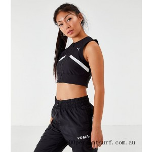 Black Friday 2021 Women's Puma Chase Full-Zip Crop Top Black/White Clearance Sale