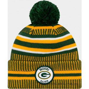 New Era Green Bay Packers NFL Home Striped Sideline Beanie Hat Team Colors On Sale