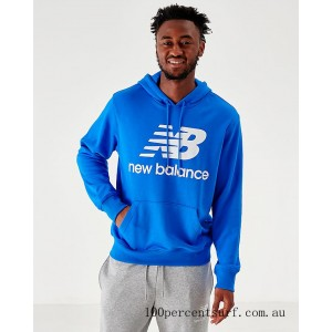 Men's New Balance Essentials Stacked Logo Hoodie Royal On Sale