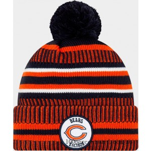 Black Friday 2021 New Era Chicago Bears NFL Home Striped Sideline Beanie Hat Team Colors Clearance Sale