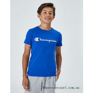 Black Friday 2021 Kids' Champion Heritage T-Shirt Blue Clearance Sale