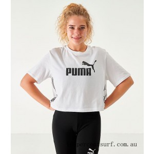 Women's Puma Amplified Cropped T-Shirt Bridal Rose On Sale
