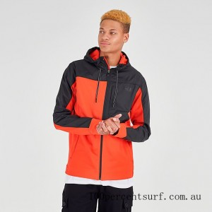 Black Friday 2021 Men's The North Face Essential Fleece Full-Zip Hoodie Fiery Red/Black Clearance Sale