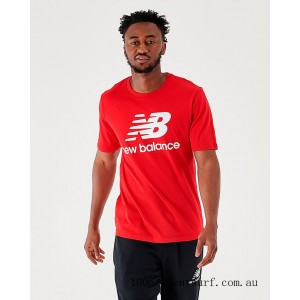 Men's New Balance Essentials Stacked Logo T-Shirt Red On Sale