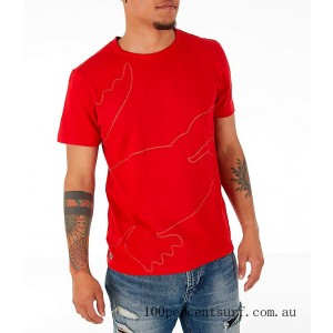 Men's Lacoste Big Croc T-Shirt Red On Sale