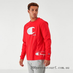Black Friday 2021 Men's Champion MCMXIX Long-Sleeve T-Shirt Red Clearance Sale