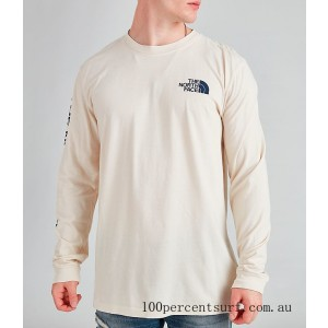 Black Friday 2021 Men's The North Face Printed Long-Sleeve T-Shirt White/Blue Clearance Sale